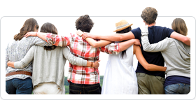 Photo of a group of friends hugging